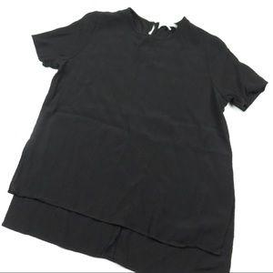 Oak + Fort Short Sleeve High-Low Blouse